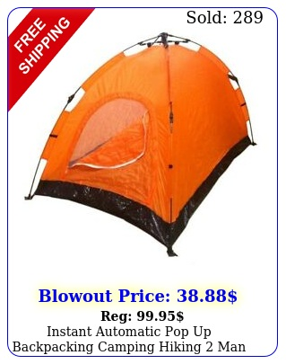 instant automatic pop up backpacking camping hiking man tent orange seale
