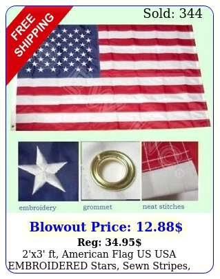 'x' ft american flag us usa embroidered stars sewn stripes brass grommet