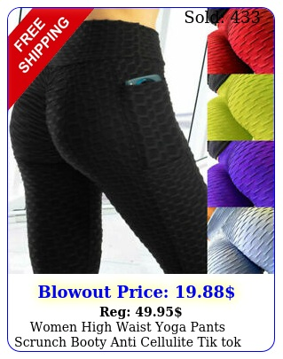 women high waist yoga pants scrunch booty anti cellulite tik tok pocket legging