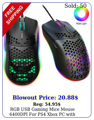 rgb usb gaming mice mouse dpi ps xbox pc with honeycomb shell blac