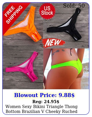 women sexy bikini triangle thong bottom brazilian v cheeky ruched swimwear beac
