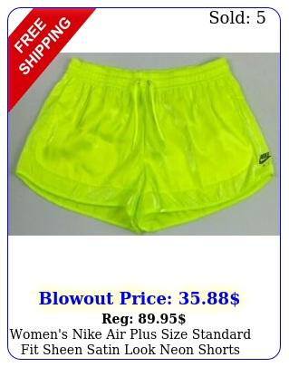 women's nike air plus size standard fit sheen satin look neon shorts size