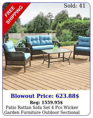 patio rattan sofa set pcs wicker garden furniture outdoor sectional couch blu