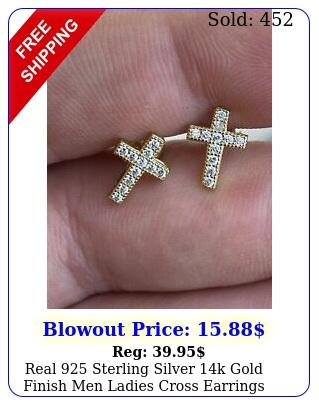 real sterling silver k gold finish men ladies cross earrings studs iced c