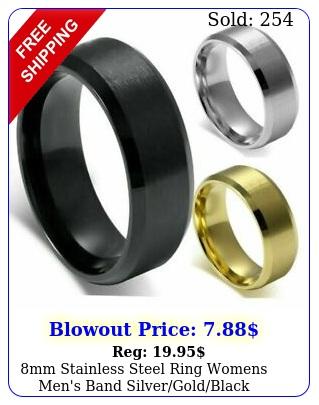 mm stainless steel ring womens men's band silvergoldblack wedding engagemen