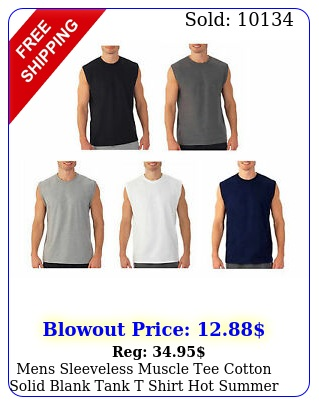 mens sleeveless muscle tee cotton solid blank tank t shirt hot summer gym to