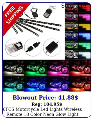 pcs motorcycle led lights wireless remote color neon glow light strips ki