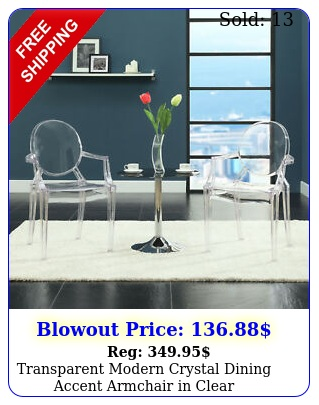 transparent modern crystal dining accent armchair in clea
