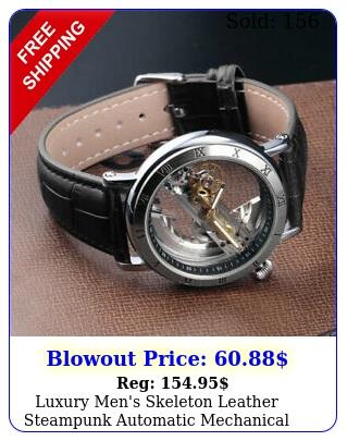 luxury men's skeleton leather steampunk automatic mechanical wrist watch blac