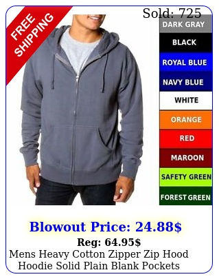 mens heavy cotton zipper zip hood hoodie solid plain blank pockets sweatshir