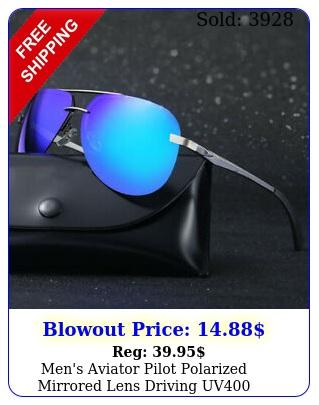 men's aviator pilot polarized mirrored lens driving uv sunglasses w cas