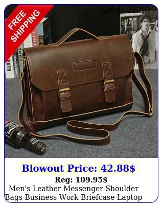 men's leather messenger shoulder bags business work briefcase laptop bag handba