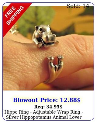 hippo ring adjustable wrap ring silver hippopotamus animal lover gif