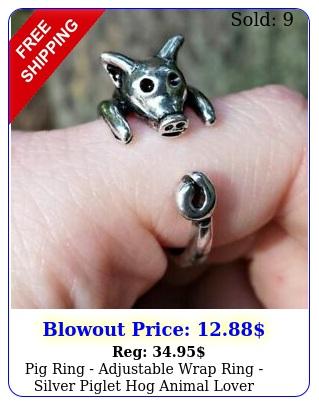 pig ring adjustable wrap ring silver piglet hog animal lover farmer gif