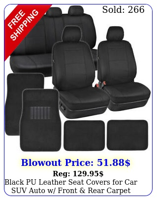black pu leather seat covers car suv auto w front rear carpet floor mat