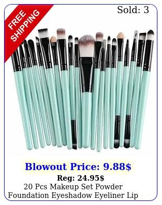 pcs makeup set powder foundation eyeshadow eyeliner lip cosmetic brushesblu