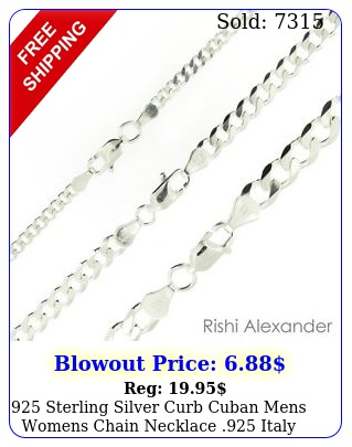 sterling silver curb cuban mens womens chain necklace italy all size