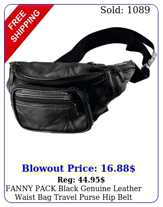fanny pack black genuine leather waist bag travel purse hip belt carry on pouc