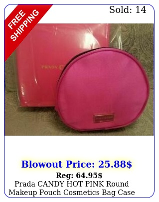 prada candy hot pink round makeup pouch cosmetics bag case i