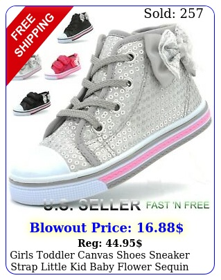 girls toddler canvas shoes sneaker strap little kid baby flower sequin soft sol