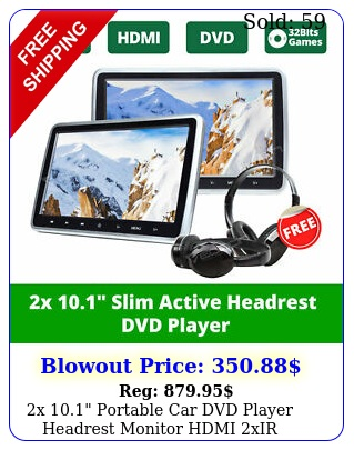 x portable car dvd player headrest monitor hdmi xir headphones fm hd us