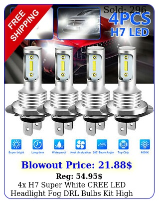 x h super white cree led headlight fog drl bulbs kit high low beam k whit