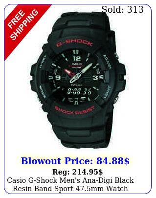 casio gshock men's anadigi black resin band sport mm watch gb