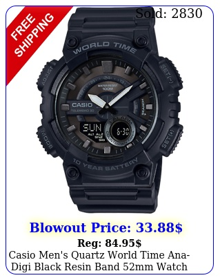 casio men's quartz world time anadigi black resin band mm watch aeqwb