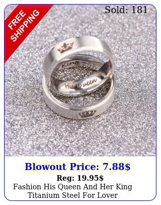 fashion his queen king titanium steel lover engagement couple ring
