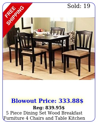 piece dining set wood breakfast furniture chairs table kitchen dinett