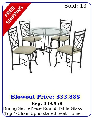 dining set piece round table glass top chair upholstered seat home kitche