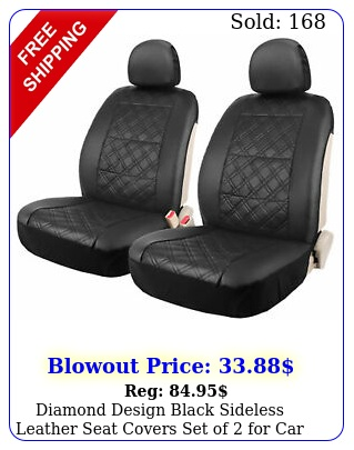 diamond design black sideless leather seat covers set of car truck su