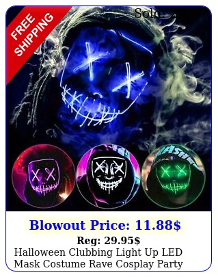 halloween clubbing light up led mask costume rave cosplay party purge mode