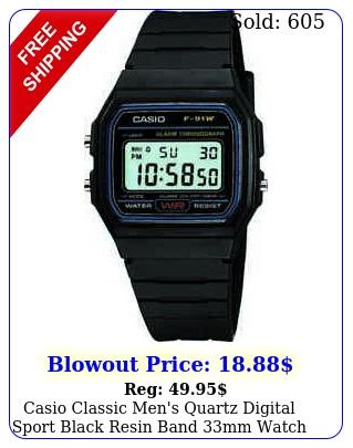 casio classic men's quartz digital sport black resin band mm watch f