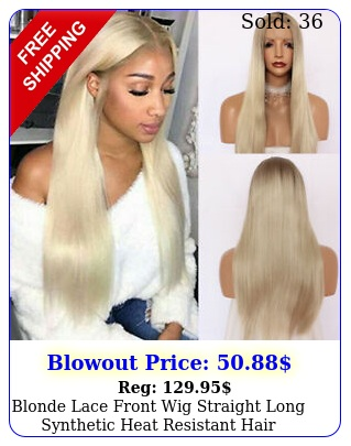 blonde lace front wig straight long synthetic heat resistant hair layered wig