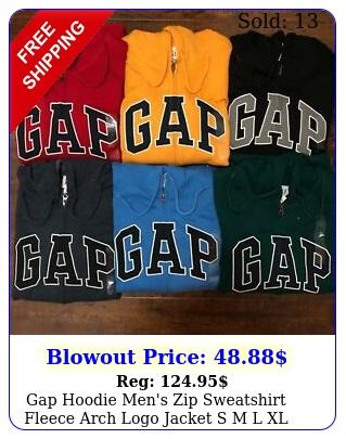 gap hoodie men's zip sweatshirt fleece arch logo jacket s m l xl xx