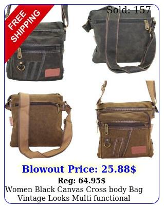 women black canvas cross body bag vintage looks multi functional shoulder purs