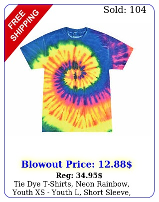 tie dye tshirts neon rainbow youth xs youth l short sleeve cotto
