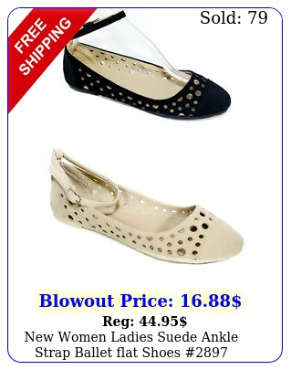 women ladies suede ankle strap ballet flat shoe