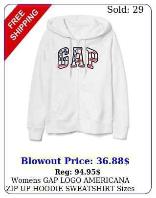 womens gap logo americana zip up hoodie sweatshirt sizes xsxlnwt