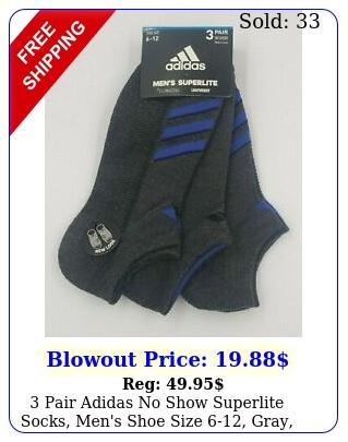 pair adidas no show superlite socks men's shoe size gray blue l m