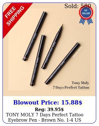 tony moly days perfect tattoo eyebrow pen brown no us seller  gif