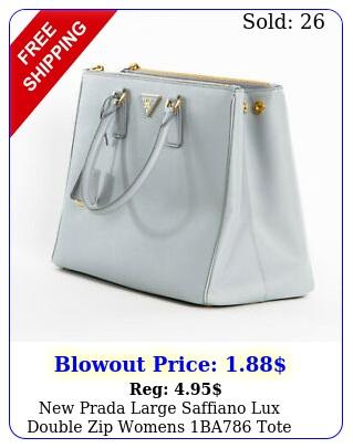prada large saffiano lux double zip womens ba tote handbag granito gra