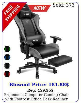 ergonomic computer gaming chair with footrest office desk recliner swivel chai