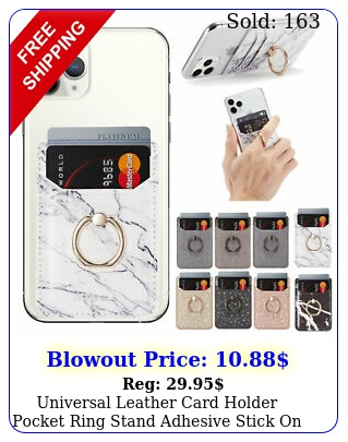 universal leather card holder pocket ring stand adhesive stick on cell phon