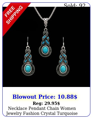 necklace pendant chain women jewelry fashion crystal turquoise silver vintag