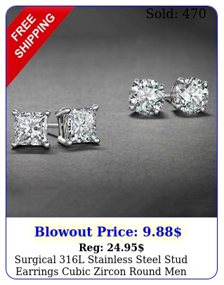 surgical l stainless steel stud earrings cubic zircon round men women pair