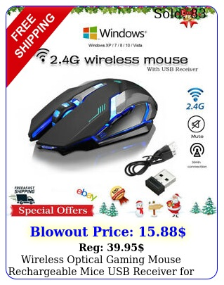 wireless optical gaming mouse rechargeable mice  usb receiver pc laptop us