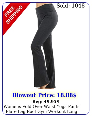 womens fold over waist yoga pants flare leg boot gym workout long stretch cotto