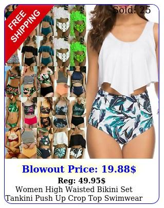 women high waisted bikini set tankini push up crop top swimwear swimsuit bather